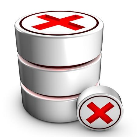 Icon symbolizing the deletion of an existing database. photo