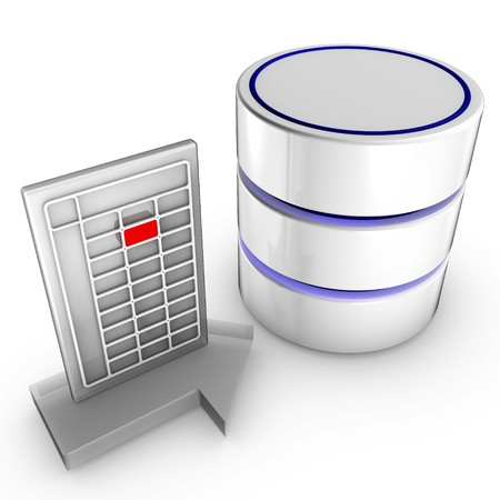 Icon symbolizing the data import into a database Stock Photo