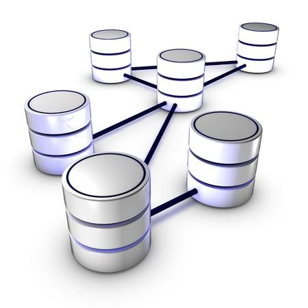 Base de datos de red con las interconexiones de los cables de datos con cable