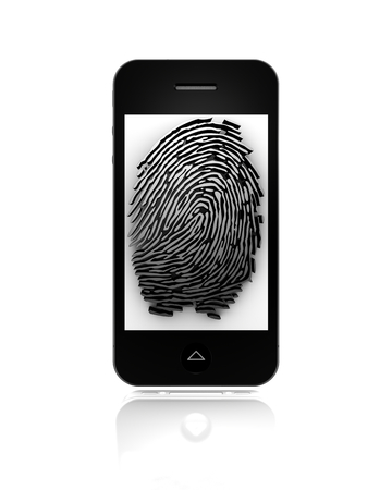 vulnerable: Mobile fingerprint. 3d fingerprint representation for authentication Stock Photo
