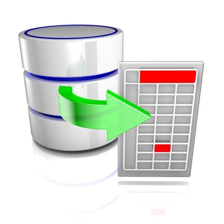 dataflow: Icono que simboliza una base de datos exporta a un archivo externo. Foto de archivo