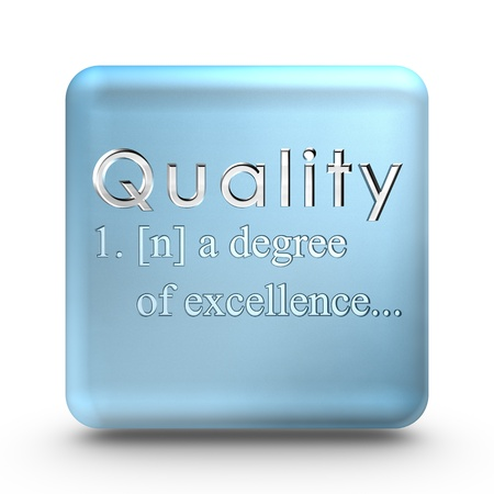 Quality definition engraved into a blue ice cube
