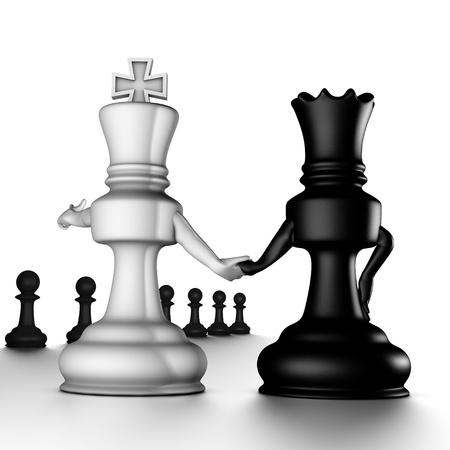 A couple king/queen, looking to the pawns Stock Photo - 8445541