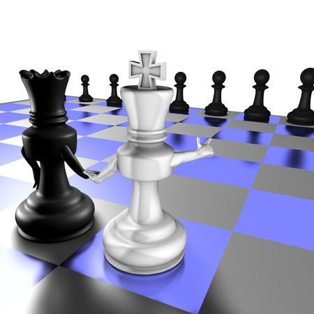mutual aid: A couple kingqueen, looking toward the opponents pieces
