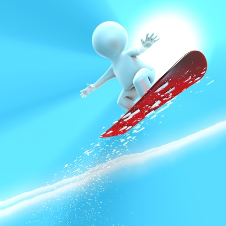 A silver snowboarder is jumping very high photo