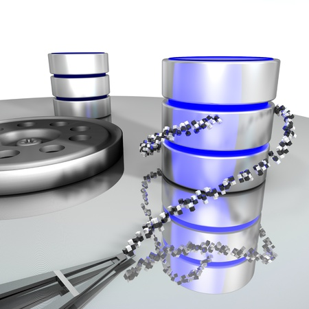 Database storage. A database is placed on the disk of a hard disk. This represents the storage/archiving of a database on a digital medium. Stock Photo - 8509293