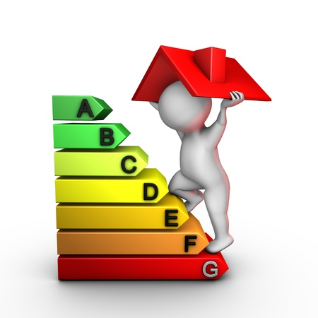 A character improves energy performance of a house Stock Photo - 9058028