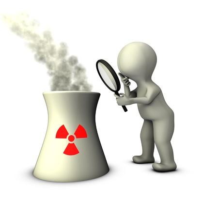 Een inspecteur onderzoekt de infrastructuur van de kerncentrale