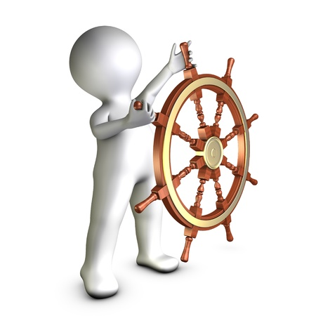 boat wheel: A character is putting back on the right track
