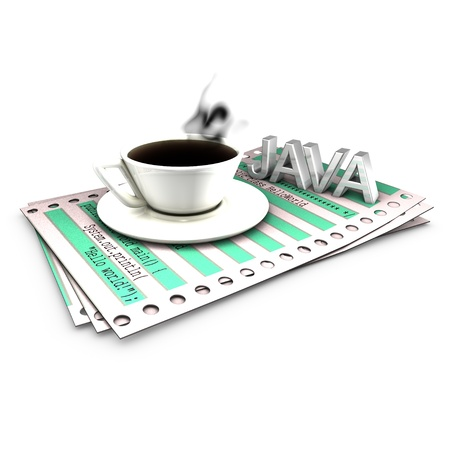 Implementation of Hello World in Java, printed on a listing paper photo
