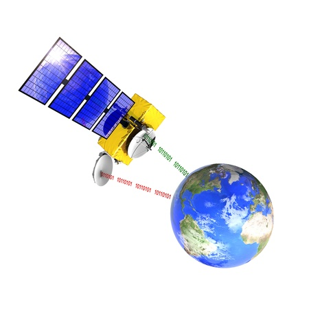 emitting: Spacecraft emitting and receiving data from the control station on earth