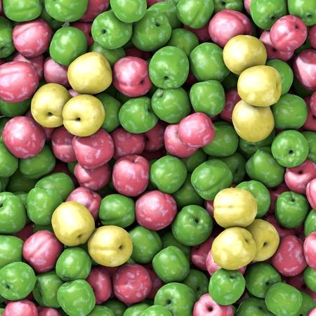 excalibur: Three varieties of fresh plums with water drop