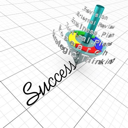 pensamiento estrategico: Planificaci�n de negocios: encuentro de hecho, planificaci�n estrat�gica, t�ctica planificaci�n y revisi�n es la clave para el �xito Foto de archivo