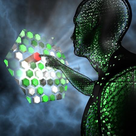 Humanoid touching a futuristic computer panel 写真素材