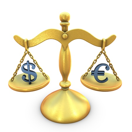 A concept of Dollar Euro balance Stock Photo - 11791874