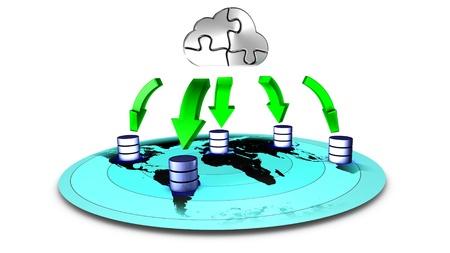 3d Illustration of database Cloud backup 写真素材