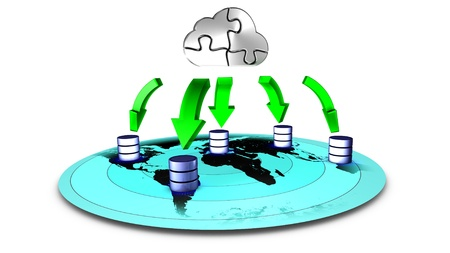 time critical: 3d Illustration of database Cloud backup Stock Photo