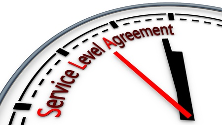 Illustration of Service-level agreement using clock concept Stock Photo