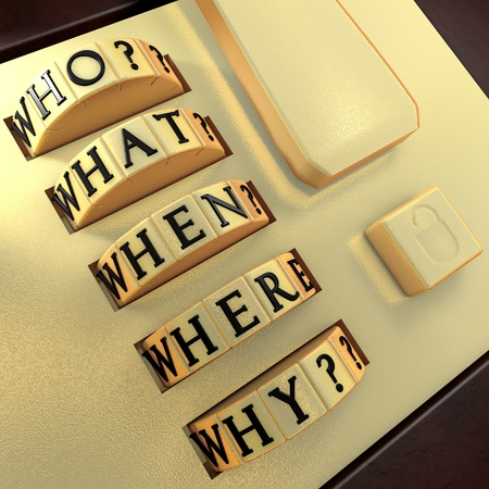 cause marketing: Five Ws: Who? What? Where? When? Why? Answer this question in order to unlock the suitcase Stock Photo