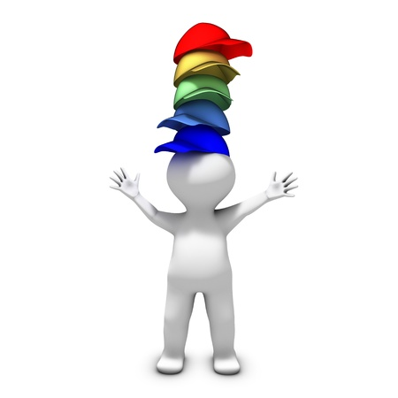 headwear: The person wearing many hats has a lot of different responsibilities Stock Photo