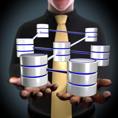 Concept of an architect creating a database network photo