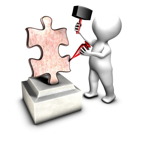 Concept of sculptor creating THE jigsaw piece  a missing piece  photo