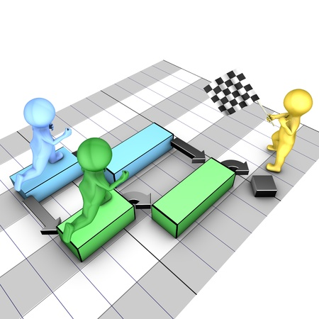 Concept of gantt chart  A team completes tasks  The flagman symbolizes the project deadline