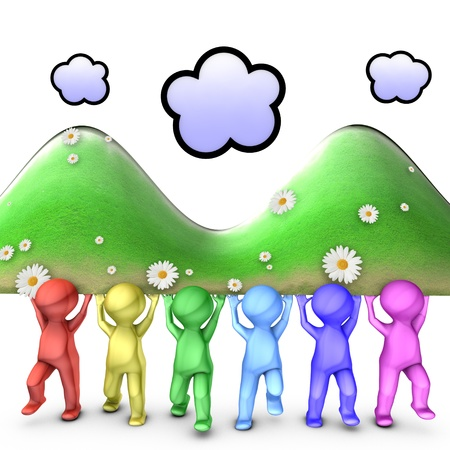 The picture illustrates a team working hand in hand looking at the same direction and resolving problems with a good communication