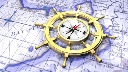 Compass in a ship Stock Photo