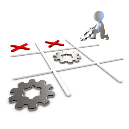 tic tac toe: A character playing and winning Tic Tac Toe with gears Metaphor for success