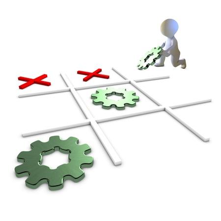 competitividad: Un personaje jugar y ganar tres en raya con la met�fora engranajes para el �xito Foto de archivo
