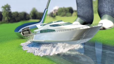 kick off: Yacht golf concept for kick off  Stock Photo