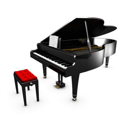 3D opened grand piano and its chair  White background Stock Photo - 20734895