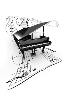 3D opened grand piano on a long flying partition  White background