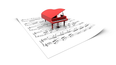 3D opened grand piano model on a partition sheet photo