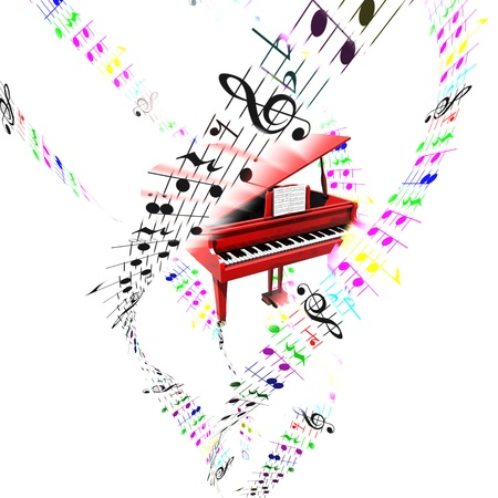 concerto: Grand piano with colored flying notes on partition sheets Aerial concept  Stock Photo