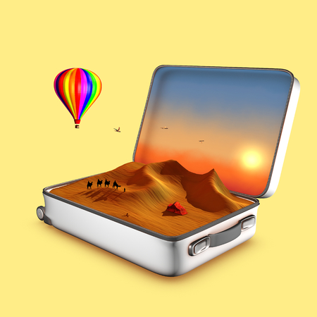 birds desert: Open suitcase that shows dunes, touaret tent, camels, a hot air balloon and a sunset.This is an invitation to travel. 3D illustration concept. Stock Photo