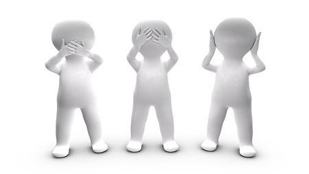 guardar silencio: Metáfora de las personas que optan por no hablar, el oído y ver esta ilustración se refiere a los tres monos máxima ilustrada