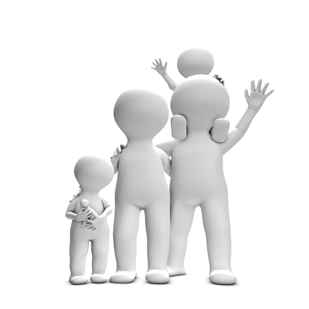 close knit: This 3D picture illustrates a close knit family with two adults and two children  They are happy and really well and look forward to spending time together