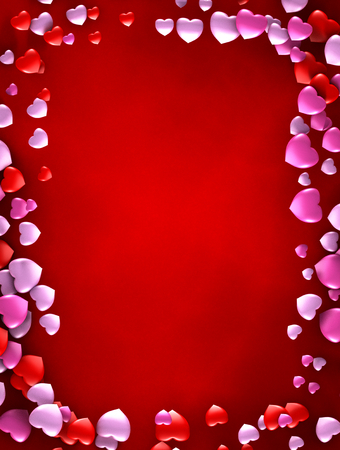 A love card decorated with hearts  A copy space is available for express a love message for Valentine Stock Photo