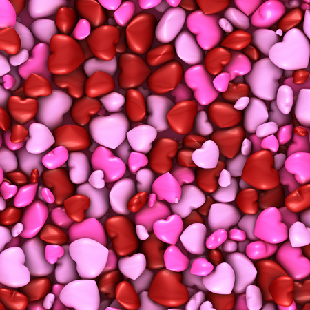 This illustration shows several hearts like stacked candies