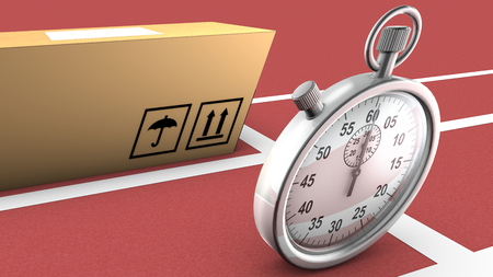transported: This illustration shows a box and a stopwatch ready to start a race  The concept is that the package can be as fast and accurate as the stopwatch in order to be transported and delivered on time