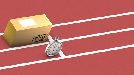 care providers: This illustration shows a box and a stopwatch ready to start a race  The concept is that the package can be as fast and accurate as the stopwatch in order to be transported and delivered on time