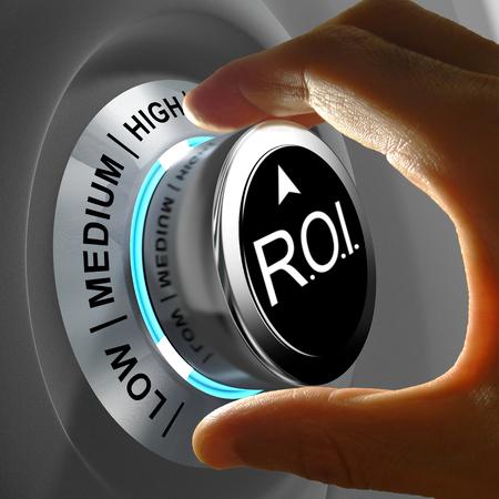Questo concetto illustrazione mostra il livello di ROI. Ritorno di investimento è i guadagni rispetto al costo. Archivio Fotografico - 30193349