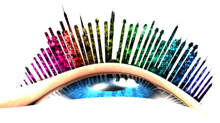This illustration conceptualizes an urban vision with firework. The eye is looking up. The eyelashes are replaced with buildings.