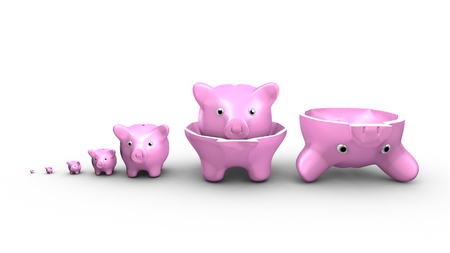 thrift box: This illustration show a saving money concept. Piggy banks replace the Russian dolls.