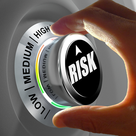 The button shows three levels of risk management. Concept illustration. Imagens