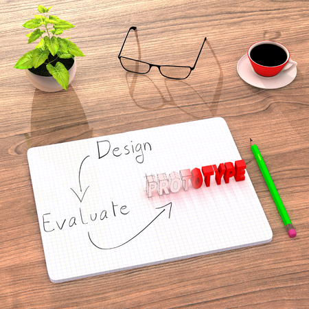 product design specification: This illustration shows a comfortable desk (plant, coffee) used to work on a new product. After designing and evaluating, the sketch takes a real prototype form. 3D Render. Stock Photo
