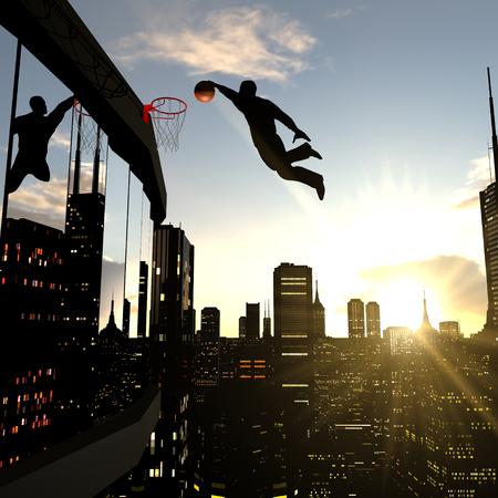 A businessman performing a slam dunk on the top of a skyscraper. Metaphor of a person reaching a higher goal.