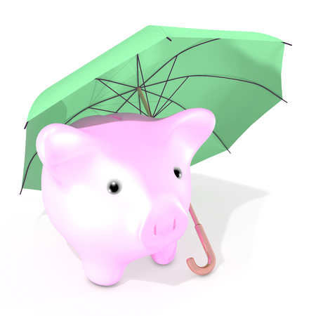 The illustration shows an umbrella protecting a little piggy bank against possible troubles linked to the market price fall.
